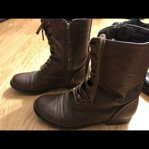 brown tall rampage combat boots